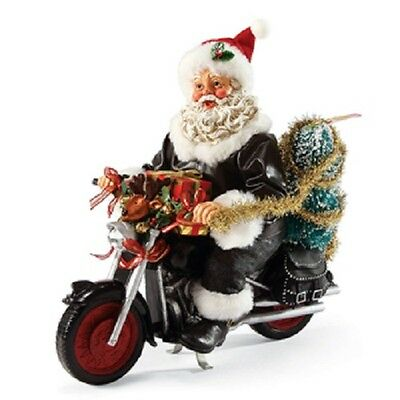 Kickstarting Christmas Santa on a Motorcycle Figurine