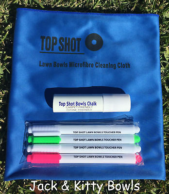 New Blue Microfibre Polish Cloth Chalk Spray Toucher Pen Lawn Bowls Gift Pack