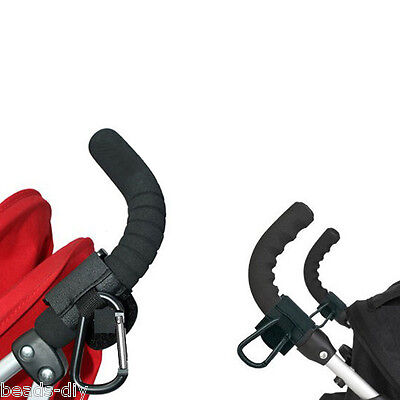 1PC Black Strong Hook Clip Bag Pram Stroller Baby Buggy Metal Hanger Shopping