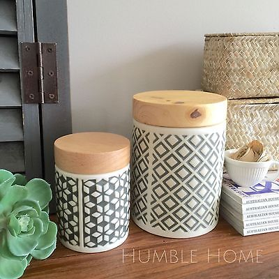 Large Stoneware Kitchen Canister With Timber Lid/Airtight Storage Cannister