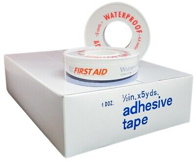 """Strong Frist Aid Adhesive Waterproof Tape 1/2"""" x 5 yards (12 Rolls) w/ Free Ship"""