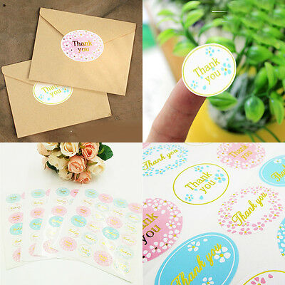 New 120Pcs Oval Colorful Thank You Label 25mm Seal Adhesive Sticker Gold Stamp