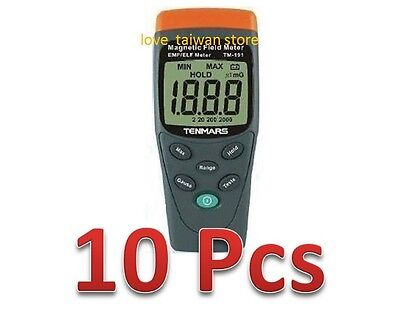 10 Pcs (DHL Ship) - New TENMARS TM-191 Magnetic Field Meter EMF/ELF LCD Display