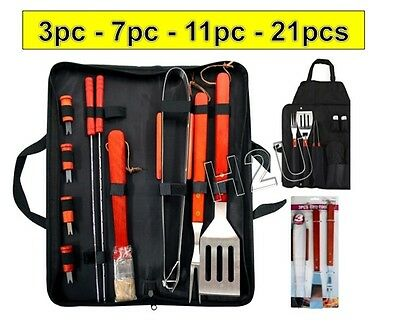 3Pc - 21Pc Bbq Tool Barbecue Utensil Camping Set Stainless Steel Cutlery Garden