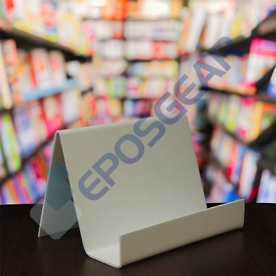 10 Small Wide White Perspex Acrylic Plastic Plate Retail Display Stand Holder