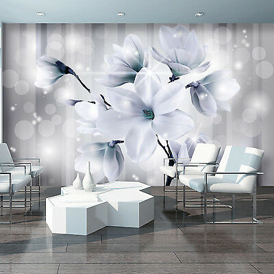 Photo Wallpaper MAGNOLIA FLORAL PATTERN FLOWERS BLUE Wall Mural (3480VE)