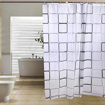 Shower Curtain Fabric Waterproof Bathroom Square Grids Design Polyester 12 Hooks