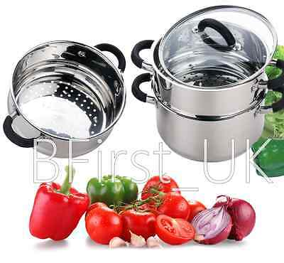 Induction 3 Tier Steamer Stainless Steel Food Vegetable Glass Lid Cooker Pan Pot