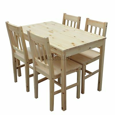 FoxHunter Solid Wooden Dining Table With 4 Chairs Set Kitchen Furniture Pine New