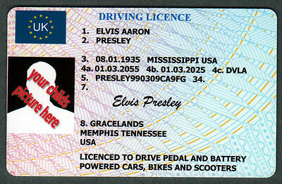 Childs personalised, Quality PVC Novelty Driving Licence name, picture etc