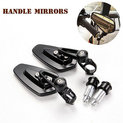 "Black Motorcycle Billet Aluminum 7/8"" 22mm Handlebars End Side Rearview Mirrors"