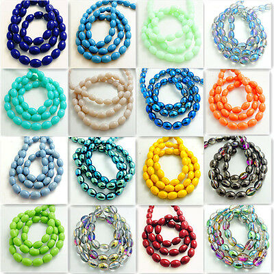 New 40pcs oval glass crystal Jade Spacer beads 8x11mm DIY