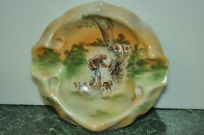 Vintage Royal Bayreuth Ashtray Hand Painted Scene of Hunter & Dogs