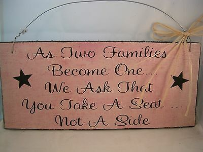 Hand Painted Primitive Rustic Western Wood Wedding Sign, Two Families Become One