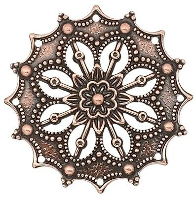 10 Antiqued Copper Plated Brass 34x34mm Filigree Flower Connectors