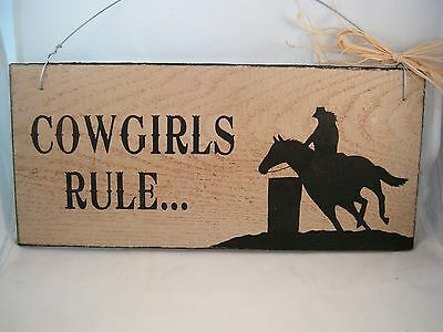 Hand Painted Primitive Western Wood Horse Sign Barrel Racer Cowgirls Rule
