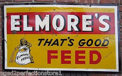 Old Elmore's Feed Sign That's Good FEED farm feed seed store large tin metal adv