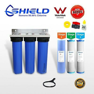 Whole House  Water Filter System 20''x4.5''Big Blue (3 stage) Double Carbon