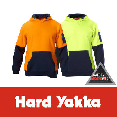 Hard Yakka Workwear Brushed Fleece Hi Vis Hoodie Jumper Yellow Orange Y19325 NEW