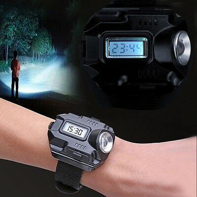 Tactical CREE LED 1000 Lm Display Rechargeable Wrist Watch Flashlight Torch #L9
