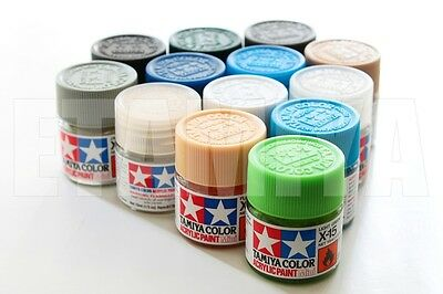 Tamiya 81701-81728 10ml Flat Acrylic Paint Color Mini Bottle Model XF-1 to XF28