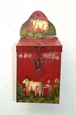 Charming Indian Folk Art Holy Cow Money Collection Box Painted Tin Money Box Hc4