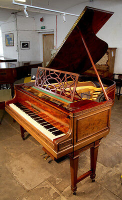 1910, Bluthner grand piano. Flame Mahogany. Chippendale Style.