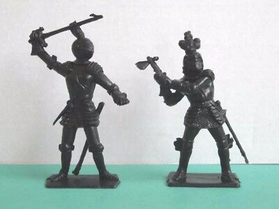 2 x ICARUS (CHERILEA) 1960's BLACK PLASTIC 60mm TOY SOLDIERS Issued in the 1990s