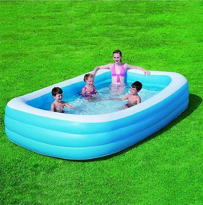 Bestway Rectangular Deluxe Inflatable Family Lounge Paddling Swimming Pool 10Ft