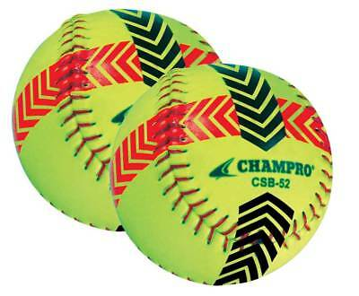 CHAMPRO SPORTS Striped Training Softball - Set of 2 Balls - Yellow CSB52S