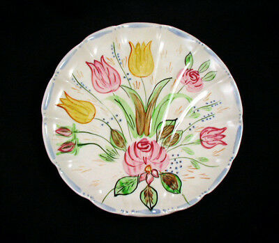 """Blue Ridge/Southern Potteries """"TULIPS"""" Shell Plate- 9 3/4 inch"""