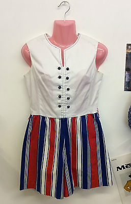 VINTAGE 1950s NAUTICAL PLAYSUIT ROMPER RED WHITE BLUE PIN-UP SIZE 8 10