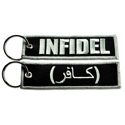 Tactical Embroidered Key Chain Key Tag - Infidel Silver And Black