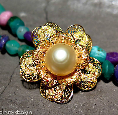 Stunning Lacey Solid 23K Gold South Sea Indonesian Gold Pearl Pin Flower Brooch