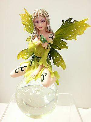 Green Fairy with Frog Bubble Rider Divinity Fairies Figurine - ZEM