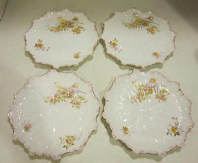 "4 Carlsbad Austria LS&S hand painted 7-3/4"" plates-all over embossed-flowers"