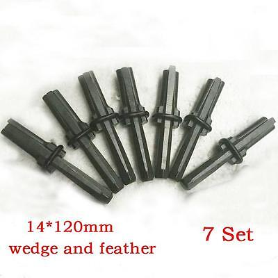 7 set Plugs and Feathers Stone splitter tool Boulder Breaker 14x120mm XD