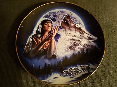 Maiden of the White Wolves - Native American Indian Collector Plate
