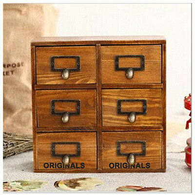 10'' Rustic Vintage Wood 6 Drawers Storage Jewelry Box Cabinet Organizer Handle