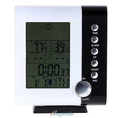 Professional LCD Wireless 433MHz Weather Station Clock Thermometer Hygrometer UK