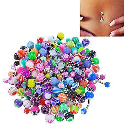 Chic Cute 30Pcs Colorful Sexy Belly Bars Body Piercing Button Navel Ring Barbell