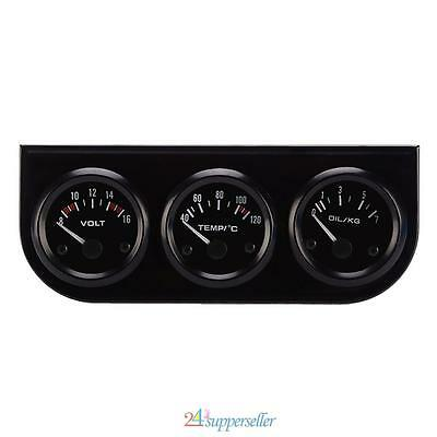 3 In 1 Car Triple Gauge Holder Voltage + Water Temperature + Oil Press Dashboard