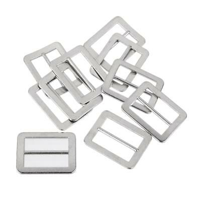 10Pcs Metal Tri Glide Slide Belt Buckles with Fixed Bar Silver 25x18mm