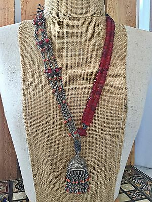 Antique Afghan Coral Silver  Trade Beads Necklace