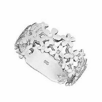 New 925 Sterling  Silver Daisy Chain Flower Band Ring Sizes G-Z