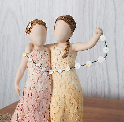 More Than Words Friendship Figurine - Two Girls With Daisy Chain, Birthday Gift