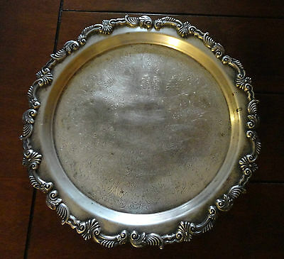 Sheridan Silver on Copper Etched Footed Tray Plate