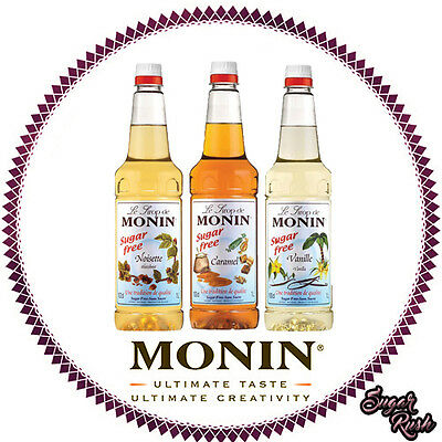 Monin Coffee Syrups- 1 Litre SUGAR FREE Plastic Bottles -AS USED BY COSTA COFFEE