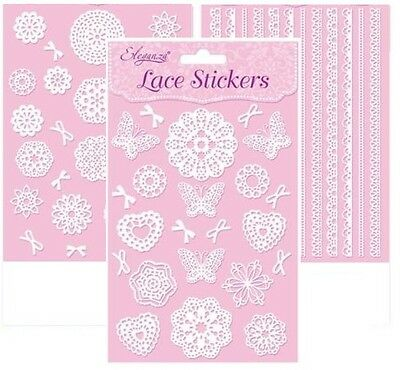 Self Adhesive Stick On White Lace Stickers Embellishments For Card Making Craft