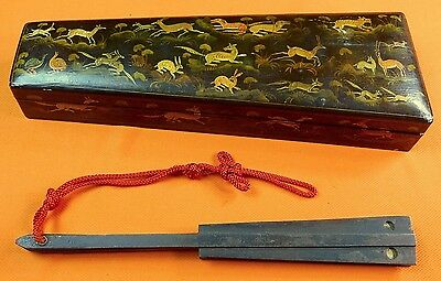 ANTIQUE JAPANESE JAPAN 19 Century Tessen war fan Mace w/ Old Box